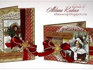 Скрапбукинг. Две рождественские открытки | Ярмарка Мастеров - ручная работа, handmade