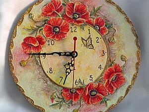 Мастер-класс по объемной росписи. Часы «Маков цвет». Ярмарка Мастеров - ручная работа, handmade.