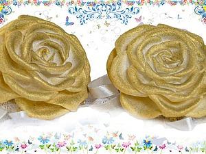 Создаем заколки с кружевом и золотыми розами из фоамирана. Ярмарка Мастеров - ручная работа, handmade.