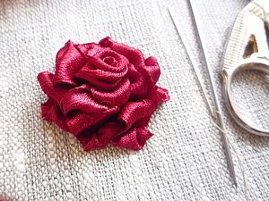 Роза.Вышивка лентами. | Ярмарка Мастеров - ручная работа, handmade