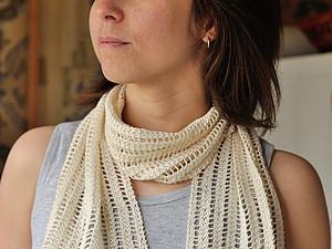 Ажурный летний шарфик спицами, описание. Ярмарка Мастеров - ручная работа, handmade.