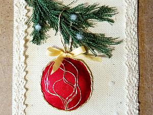 Новогодняя текстильная открытка | Ярмарка Мастеров - ручная работа, handmade