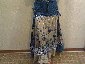 Сшить юбку «бохо» из старых джинсов и сарафана? Легко! За час! | Ярмарка Мастеров - ручная работа, handmade