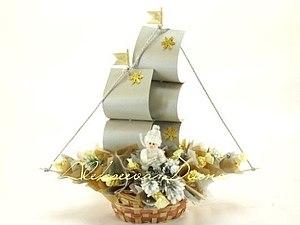 Праздничный корабль из конфет.   Ярмарка Мастеров - ручная работа, handmade