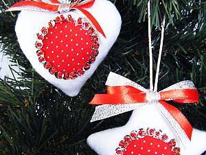 Елочные игрушки ( сердце и звезда). Ярмарка Мастеров - ручная работа, handmade.