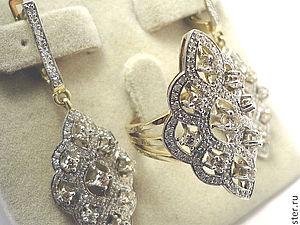 Комплект Золотое бриллиантовое кольцо серьги 585 пробы | Ярмарка Мастеров - ручная работа, handmade