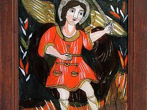 Украинский наив: икона на стекле. Ярмарка Мастеров - ручная работа, handmade.