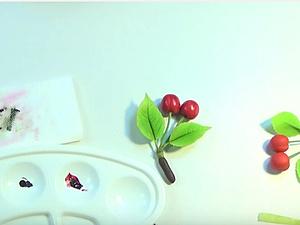 Видеоурок: лепим брошь с ягодами вишни из самозастывающей полимерной глины. Ярмарка Мастеров - ручная работа, handmade.