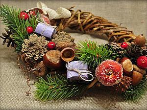 Рождественский венок из лозы