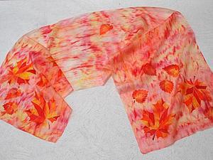 Создание шарфа «Золотая осень» в смешанной технике. Ярмарка Мастеров - ручная работа, handmade.