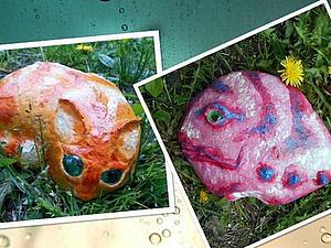 Кошка и Рыба - расписываем садовые камни. Ярмарка Мастеров - ручная работа, handmade.