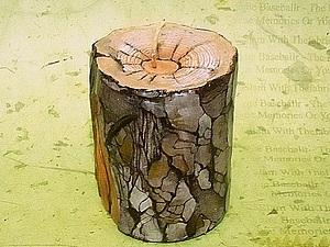 """Парафиновая свеча ручной работы  """"Сосновая полешка"""". Ярмарка Мастеров - ручная работа, handmade."""