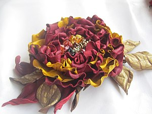 МК по цветам из кожи - объемные броши большого размера | Ярмарка Мастеров - ручная работа, handmade