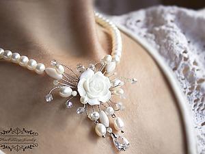 Мастерим свадебное колье из жемчуга и кристаллов за 2 часа | Ярмарка Мастеров - ручная работа, handmade