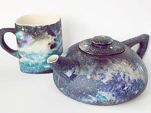 Рисуем космос акриловыми красками по керамике. Ярмарка Мастеров - ручная работа, handmade.