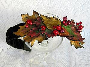 «Изготовление ободка на металлической основе с декором из листьев и цветов , выполненных из натураль   Ярмарка Мастеров - ручная работа, handmade