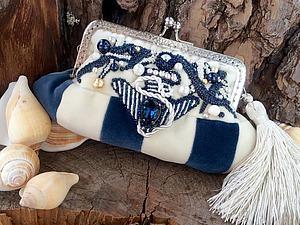 Создаём бархатную сумочку-косметичку «Капри» на морскую тему | Ярмарка Мастеров - ручная работа, handmade