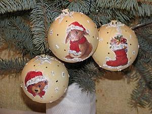 Декорируем новогодние шарики в технике декупаж. Ярмарка Мастеров - ручная работа, handmade.