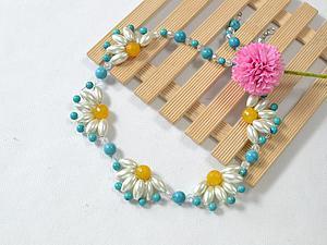 Плетем летнее ожерелье с цветами. Ярмарка Мастеров - ручная работа, handmade.