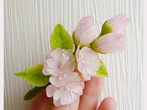 Лепим веточку сакуры из полимерной глины. Ярмарка Мастеров - ручная работа, handmade.