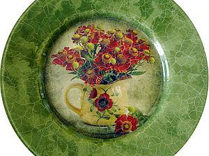 Обратный декупаж. Декор тарелки. | Ярмарка Мастеров - ручная работа, handmade