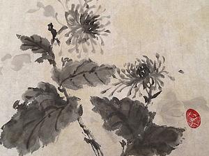 Живопись Суми_е. Хризантема на японской рисовой бумаге. | Ярмарка Мастеров - ручная работа, handmade