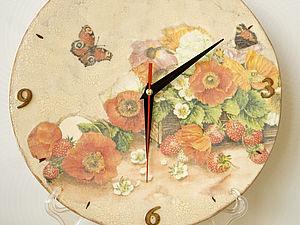 Декупаж. Часы с одношаговым кракелюром (для начинающих).. Ярмарка Мастеров - ручная работа, handmade.
