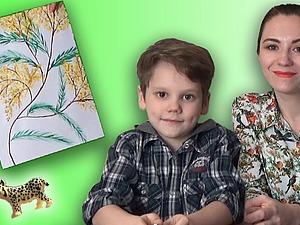Простой рисунок с ребенком: мимоза к 8 марта. Ярмарка Мастеров - ручная работа, handmade.