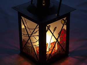 Роспись фонарика с матовым стеклом, handmade