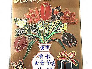Создание магнита-открытки к 8 Марта в витражной технике. Ярмарка Мастеров - ручная работа, handmade.