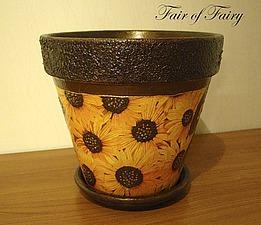 Превращаем обычный глиняный цветочный горшок в солнечный. Ярмарка Мастеров - ручная работа, handmade.