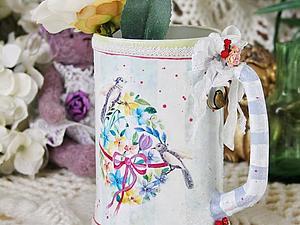"""Преображаем пивную кружку в чудесную вазочку """"Весна"""". Ярмарка Мастеров - ручная работа, handmade."""