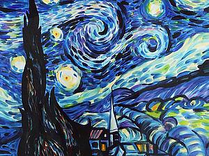 «Вдохновившись Ван Гогом». Расписываем шелковый платок с использованием загустки. Ярмарка Мастеров - ручная работа, handmade.