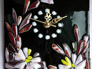 ЛОТ № 86 Черные часы с цветами.Фьюзинг. Спешите,скоро окончание!!! | Ярмарка Мастеров - ручная работа, handmade