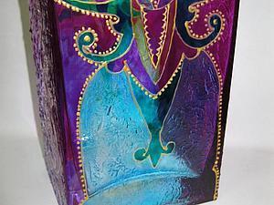 Нарядная ваза-подсвечник - новый мастер-класс по витражной росписи стекла! | Ярмарка Мастеров - ручная работа, handmade