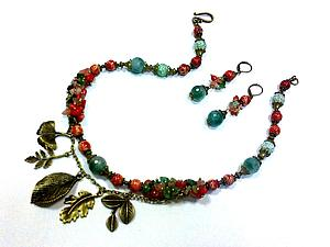 Новый МК по сборке украшений - ожерелье и серьги с каменной крошкой!   Ярмарка Мастеров - ручная работа, handmade