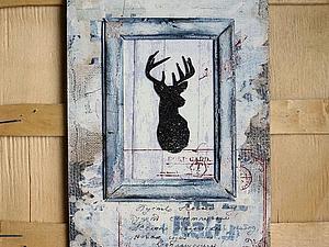 Создаем панно с оленем в стиле рустик | Ярмарка Мастеров - ручная работа, handmade