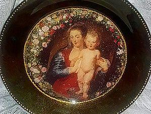 Тарелочка Обратный декупаж с использованием красок для мармирования. | Ярмарка Мастеров - ручная работа, handmade