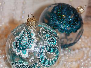 Роспись новогоднего шара в смешанной технике.   Ярмарка Мастеров - ручная работа, handmade