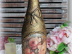 Декорируем стеклянную бутылку в технике декупажа. Ярмарка Мастеров - ручная работа, handmade.