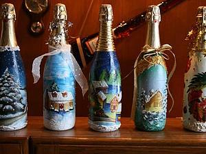 Декупаж на бутылке шампанского | Ярмарка Мастеров - ручная работа, handmade
