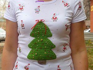 Декупаж на ткани+вязаная елка будет Вам Новогодняя футболка | Ярмарка Мастеров - ручная работа, handmade