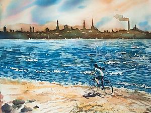 Мастер-класс: морской пейзаж в горячем батике. Ярмарка Мастеров - ручная работа, handmade.