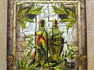 Декупаж и одношаговый кракелюр: доска из набора «Маслины». Ярмарка Мастеров - ручная работа, handmade.
