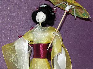 Делаем куколку-японку: имитация традиционного кимоно и прически. Ярмарка Мастеров - ручная работа, handmade.