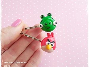 Заколки Птичка и Свинка (по мотивам игры Angry Birds) из пластики.. Ярмарка Мастеров - ручная работа, handmade.