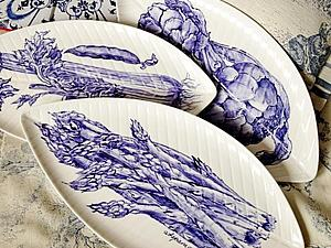 Сене-белый фарфор. Спаржа, сельдерей, артишок | Ярмарка Мастеров - ручная работа, handmade