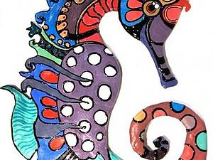 Морской конек: лепка и роспись. Ярмарка Мастеров - ручная работа, handmade.