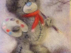 Подробный фото обзор создания картины. Мишка Тедди. | Ярмарка Мастеров - ручная работа, handmade