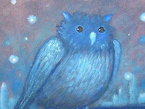 Новинка  магазина, Новая  картина  -  Ночная сова ночь черный заросли   Ярмарка Мастеров - ручная работа, handmade